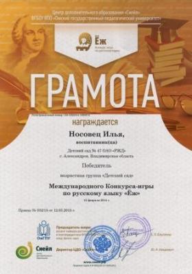 Конкурс по русскому язйку Носовец ИлЬя