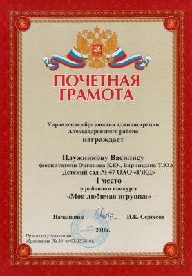 Плужникова Василиса Моя любимая игрушка_1